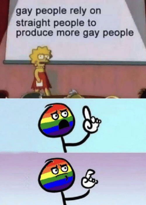 Produce: gay people rely on  straight people to  produce more gay people