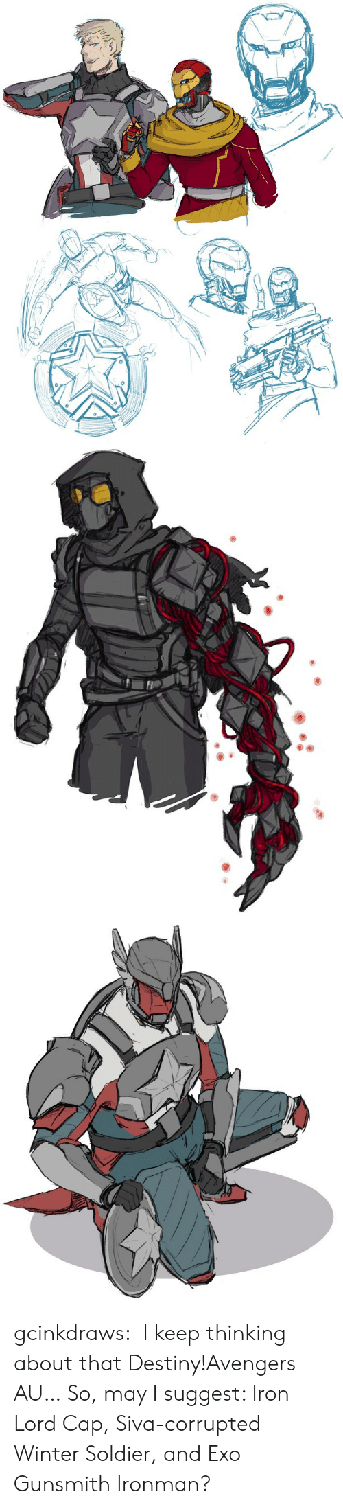 Destiny, Tumblr, and Winter: gcinkdraws:  I keep thinking about that Destiny!Avengers AU…So, may I suggest: Iron Lord Cap, Siva-corrupted Winter Soldier, and Exo Gunsmith Ironman?