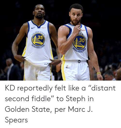 """Steph: ge  uten  EN S  STATE  GOLD  35  DEN  30  WARRION  PARIORS KD reportedly felt like a """"distant second fiddle"""" to Steph in Golden State, per Marc J. Spears"""