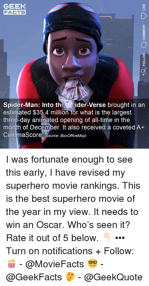Facts, Memes, and Spider: GEEK  FACTS  0  or  Spider-Man: Into thider-Verse brought in an  estimated $35.4 million for what is the largest  three-day animated opening of all-time in the  month of December. It also received a coveted A+  CinemaScore source: BoxOfficeMojo I was fortunate enough to see this early, I have revised my superhero movie rankings. This is the best superhero movie of the year in my view. It needs to win an Oscar. Who's seen it? Rate it out of 5 below. 👇🏻 ••• Turn on notifications + Follow: 🍿 - @MovieFacts 🤓 - @GeekFacts 🤔 - @GeekQuote