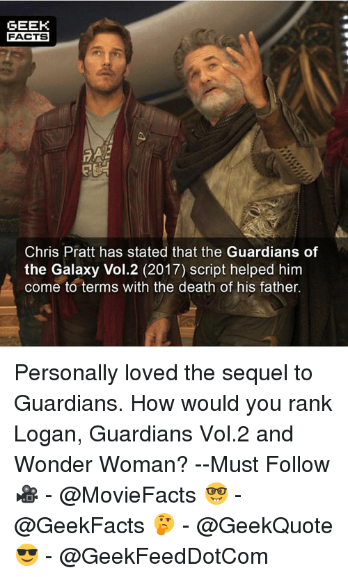 vols: GEEK  FACTS  Chris Pratt has stated that the Guardians of  the Galaxy Vol.2 (2017) script helped him  come to terms with the death of his father. Personally loved the sequel to Guardians. How would you rank Logan, Guardians Vol.2 and Wonder Woman? --Must Follow 🎥 - @MovieFacts 🤓 - @GeekFacts 🤔 - @GeekQuote 😎 - @GeekFeedDotCom