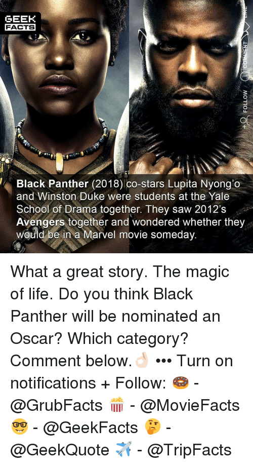 Facts, Life, and Memes: GEEK  FACTS  LI  Black Panther (2018) co-stars Lupita Nyong'o  and Winston Duke were students at the Yale  School of Drama together. They saw 2012's  Avengers together and wondered whether they  wouid be in a Marvel movie someday What a great story. The magic of life. Do you think Black Panther will be nominated an Oscar? Which category? Comment below.👌🏻 ••• Turn on notifications + Follow: 🍩 - @GrubFacts 🍿 - @MovieFacts 🤓 - @GeekFacts 🤔 - @GeekQuote ✈️ - @TripFacts