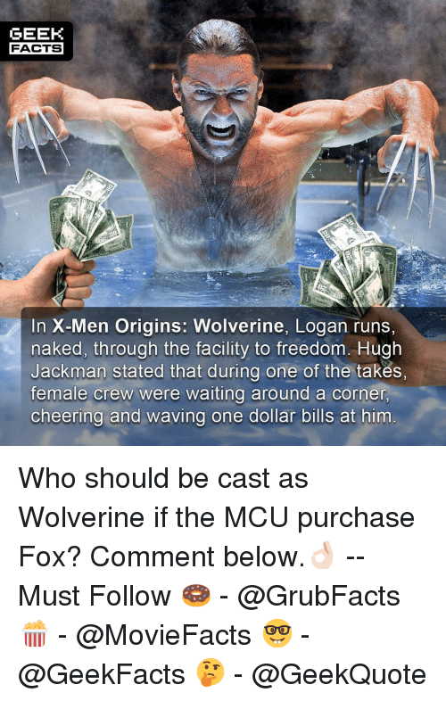 Facts, Memes, and Wolverine: GEEK  FACTS  Si  In X-Men Origins: Wolverine, Logan runs,  naked, through the facility to freedom. Hugh  Jackman stated that during one of the takes,  female crew were waiting around a corner  cheering and waving one dollar bills at him Who should be cast as Wolverine if the MCU purchase Fox? Comment below.👌🏻 --Must Follow 🍩 - @GrubFacts 🍿 - @MovieFacts 🤓 - @GeekFacts 🤔 - @GeekQuote