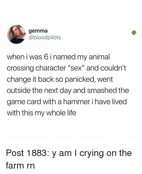 "panicked: gemma  @bloodpilots  when i was 6 i named my animal  crossing character ""sex"" and couldn't  change it back so panicked, went  outside the next day and smashed the  game card with a hammer i have lived  with this my whole life Post 1883: y am I crying on the farm rn"