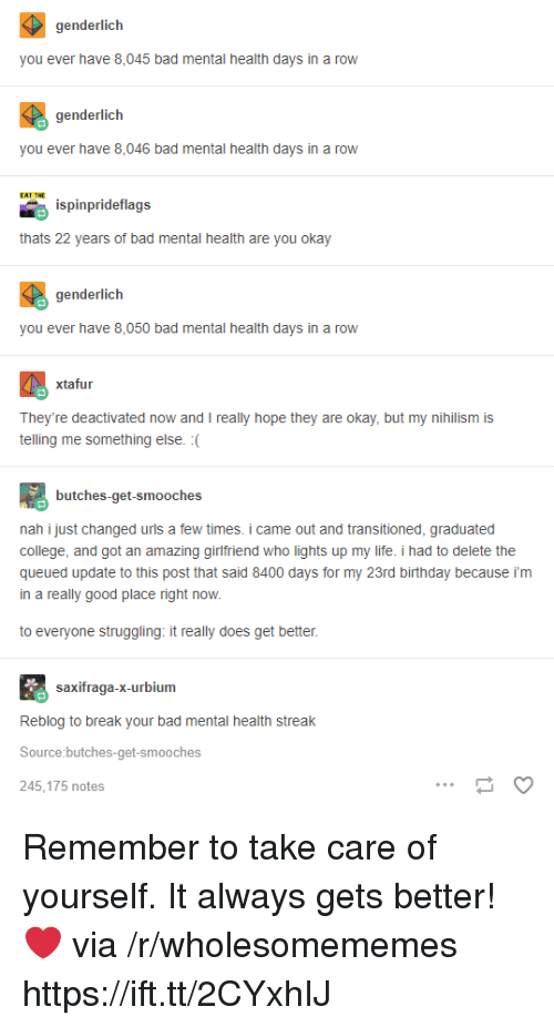 Bad, Birthday, and College: genderlich  you ever have 8,045 bad mental health days in a row  genderlich  you ever have 8,046 bad mental health days in a row  ispinprideflags  thats 22 years of bad mental health are you okay  genderlich  you ever have 8,050 bad mental health days in a row  xtafur  They're deactivated now and I really hope they are okay, but my nihilism is  telling me something else. :(  butches-get-smooches  nah i just changed urls a few times. i came out and transitioned, graduated  college, and got an amazing girlfriend who lights up my life. i had to delete the  queued update to this post that said 8400 days for my 23rd birthday because i'm  in a really good place right now.  to evervone struggling: it really does get better  saxifraga-x-urbium  Reblog to break your bad mental health streak  Source:butches-get-smooches  245,175 notes Remember to take care of yourself. It always gets better! ❤️ via /r/wholesomememes https://ift.tt/2CYxhIJ