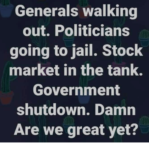 Stock Market: Generals walking  out. Politicians  going to jail. Stock  market in the tank.  Government  shutdown. Damn  Are we great yet?