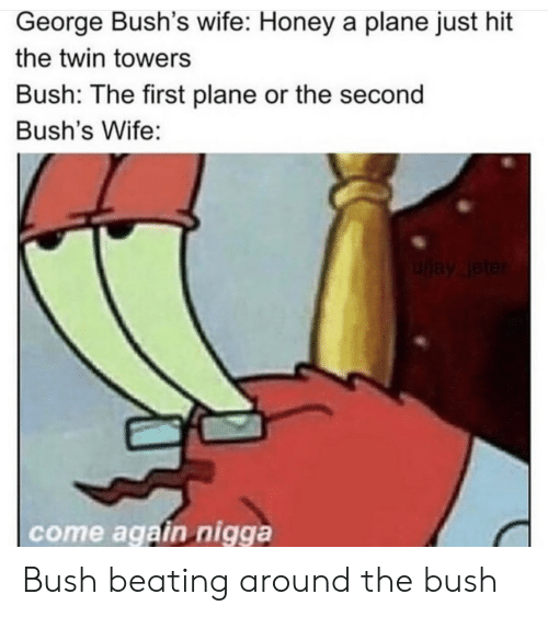 bush: George Bush's wife: Honey a plane just hit  the twin towers  Bush: The first plane or the second  Bush's Wife:  uay leter  come again nigga Bush beating around the bush