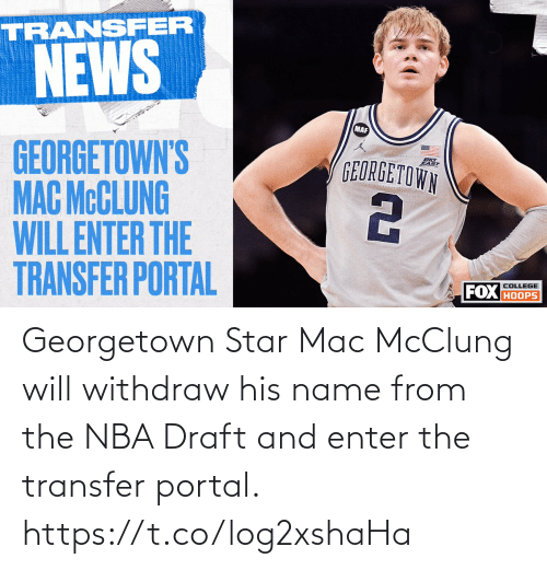 draft: Georgetown Star Mac McClung will withdraw his name from the NBA Draft and enter the transfer portal. https://t.co/log2xshaHa