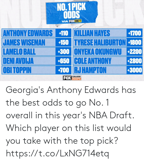 draft: Georgia's Anthony Edwards has the best odds to go No. 1 overall in this year's NBA Draft.   Which player on this list would you take with the top pick? https://t.co/LxNG714etq