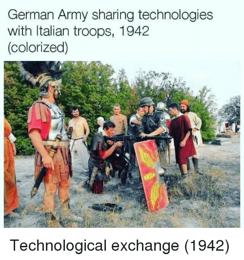 Army, German, and Italian: German Army sharing technologies  with Italian troops, 1942  colorized) Technological exchange (1942)