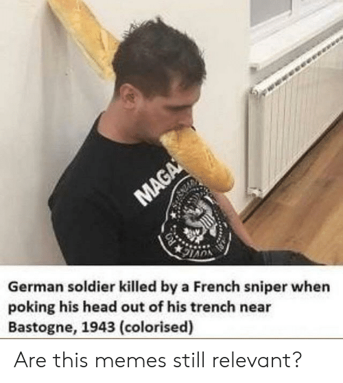 Still Relevant: German soldier killed by a French sniper when  poking his head out of his trench near  Bastogne, 1943 (colorised) Are this memes still relevant?