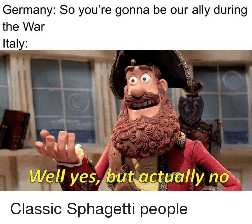 Ally, Germany, and Dank Memes: Germany: So you're gonna be our ally during  the War  Italy:  Well ves, but actually no