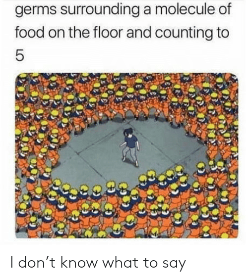 on the floor: germs surrounding a molecule of  food on the floor and counting to  5 I don't know what to say