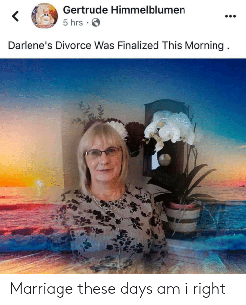 Marriage, Divorce, and This: Gertrude Himmelblumen  5 hrs ·  Darlene's Divorce Was Finalized This Morning. Marriage these days am i right