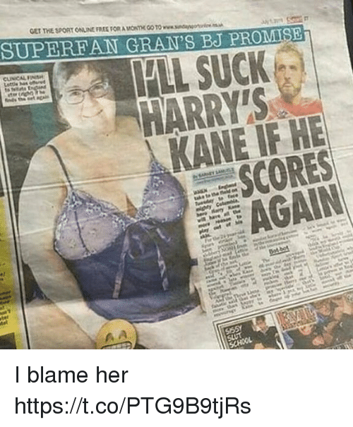 Memes, Free, and 🤖: GET THE SPORT ONLINE FREE FOR A MONTHE GO TO www.sndangor  SUPEREAN GRAN'S BJ PROMIS  HARRY'S  KANE IF HE  SCORES  AGAIN I blame her https://t.co/PTG9B9tjRs