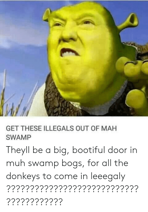 Bootiful: GET THESE ILLEGALS OUT OF MAH  SWAMP Theyll be a big, bootiful door in muh swamp bogs, for all the donkeys to come in leeegaly ????????????????????????????????????????