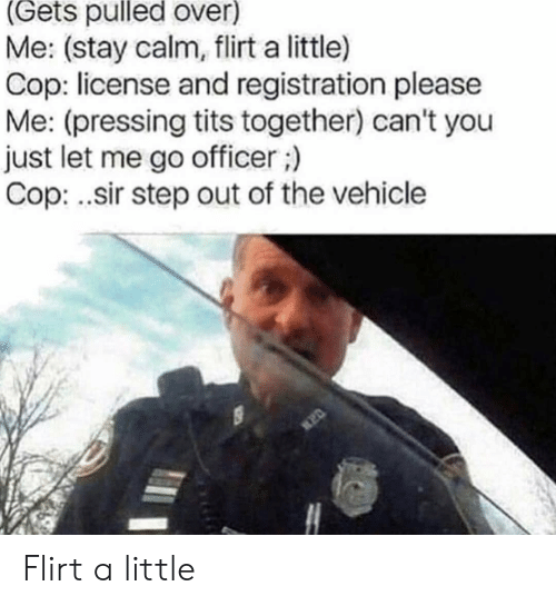 tits: (Gets pulled over)  Me: (stay calm, flirt a little)  Cop: license and registration please  Me: (pressing tits together) can't you  just let me go officer;)  Cop: .sir step out of the vehicle Flirt a little