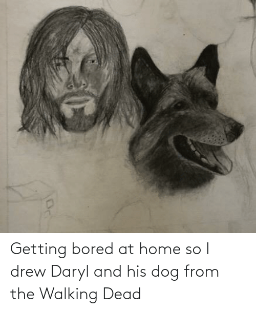 drew: Getting bored at home so I drew Daryl and his dog from the Walking Dead
