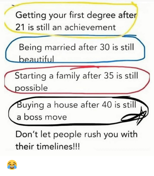 Dank, Family, and House: Getting your first degree after  21 is sill an achievement  Being married after 30 is still  Starting a family after 35 is still  ossible  uying a house after 40 is still  a boss move  Don't let people rush you with  their timelines!!! 😂