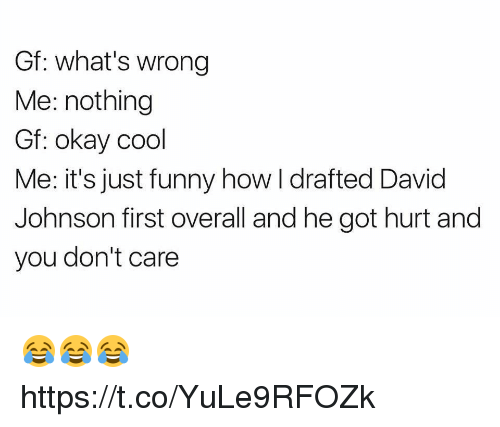 Hurted: Gf: what's wrong  Me: nothing  Gf: okay cool  Me: it's just funny how I drafted David  Johnson first overall and he got hurt and  you don't care 😂😂😂 https://t.co/YuLe9RFOZk