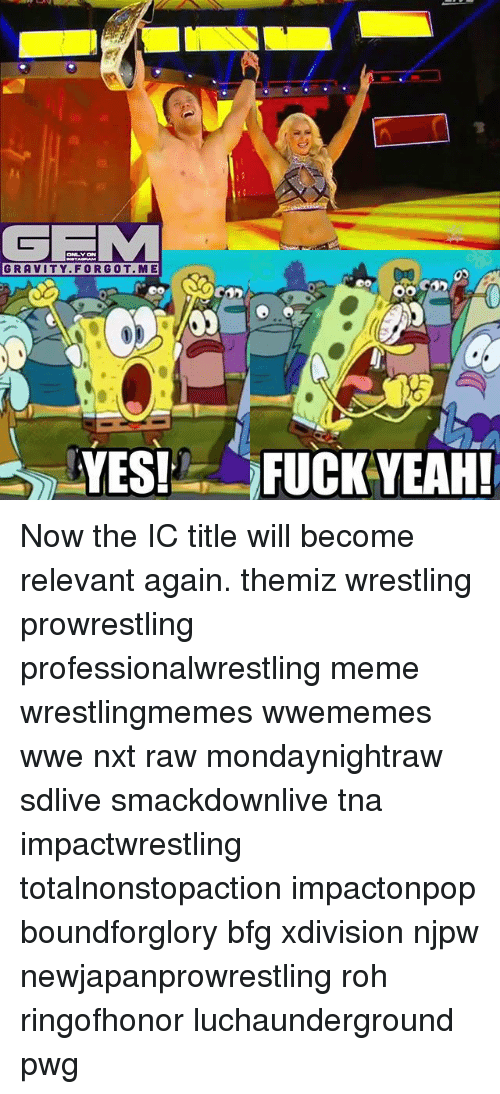 Yeah Now: GFIM  GRAVITY FOR GOT ME  YES!  OO  FUCK YEAH! Now the IC title will become relevant again. themiz wrestling prowrestling professionalwrestling meme wrestlingmemes wwememes wwe nxt raw mondaynightraw sdlive smackdownlive tna impactwrestling totalnonstopaction impactonpop boundforglory bfg xdivision njpw newjapanprowrestling roh ringofhonor luchaunderground pwg