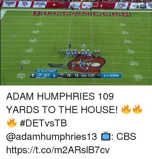 Memes, Cbs, and DeSean Jackson: GHOL  CRUSA  GERALDINIS  DESEAN JACKSON  FOUNDATION  BRATES  BALLERS  JAMEIS DREAM  FOREVER FOUNDATIO  ONFL  DATION  62-YD ATTEMPT  TB 13 2ND 0:07 10 4TH DOWN ADAM HUMPHRIES 109 YARDS TO THE HOUSE! 🔥🔥🔥  #DETvsTB @adamhumphries13  📺: CBS https://t.co/m2ARslB7cv