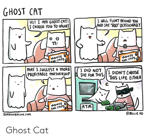 "atm: GHOST CAT  HI! I AM GHOST CAT!  I CHOOSE YOu TO HAUNT  I WILL FLOAT BEHIND YOu  AND SAY ""B00!"" OCASSIONALLY  MOUSE  EAR CHIPS  MOUSE  EAR CHIPS  MAY I SUGGEST A MORE  PROFITABLE PARTNERSHIP  I DID NOT  DIE FOR THIS  I DIDN'T CHOOSE  THIS LIFE EITHER  MOUSE  EAR CHIPS  ATM  SORROWBACON.Com  MILLIE HO Ghost Cat"