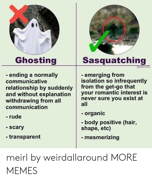 ghosting: Ghosting  Sasquatching  aidenaratn  - ending a normally  communicative  relationship by suddenly from the  and without explanation your romantic interest is  withdrawing from all  communication  - emerging from  isolation so infrequently  get-go that  never sure you exist at  all  organic  - rude  -body positive (hair,  shape, etc)  scary  - transparent  mesmerizing meirl by weirdallaround MORE MEMES