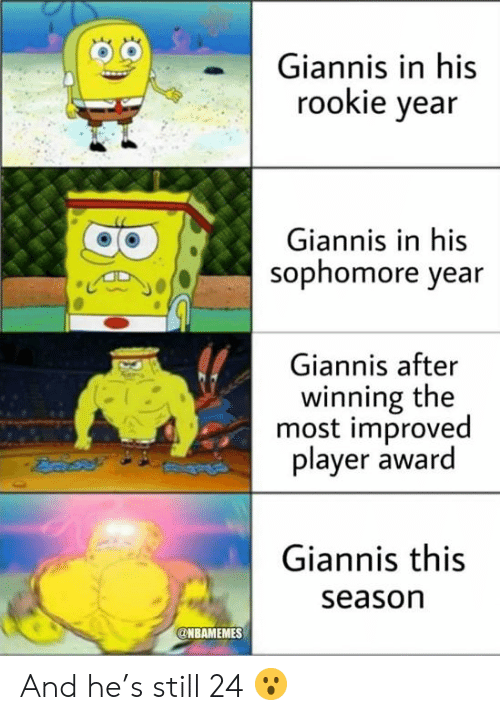 Nba, Player, and Still: Giannis in his  rookie year  Giannis in his  sophomore year  Giannis after  winning the  most improved  player award  Giannis this  season  NBAMEMES And he's still 24 😮