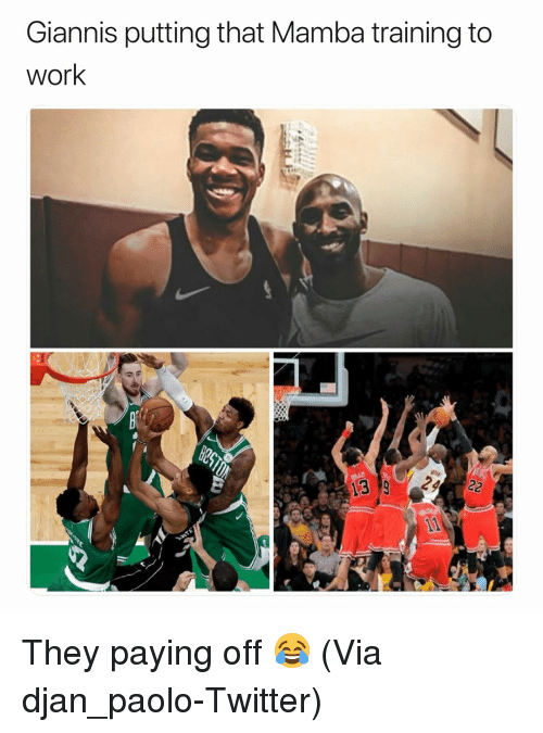 Basketball, Nba, and Sports: Giannis putting that Mamba training to  work They paying off 😂 (Via ‪djan_paolo‬-Twitter)