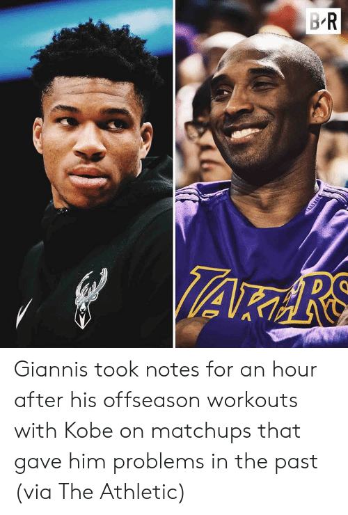 Kobe, Him, and Via: Giannis took notes for an hour after his offseason workouts with Kobe on matchups that gave him problems in the past  (via The Athletic)