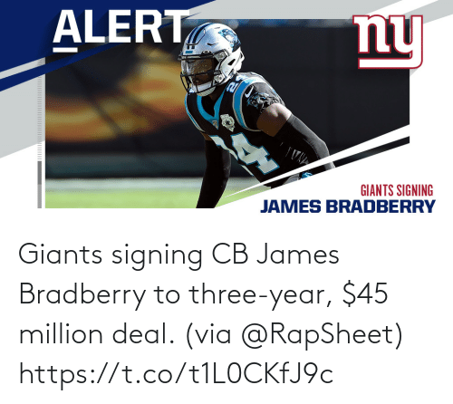 Signing: Giants signing CB James Bradberry to three-year, $45 million deal. (via @RapSheet) https://t.co/t1L0CKfJ9c