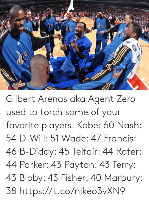 Your: Gilbert Arenas aka Agent Zero used to torch some of your favorite players.  Kobe: 60 Nash: 54 D-Will: 51 Wade: 47 Francis: 46 B-Diddy: 45 Telfair: 44 Rafer: 44 Parker: 43 Payton: 43 Terry: 43 Bibby: 43 Fisher: 40 Marbury: 38   https://t.co/nikeo3vXN9