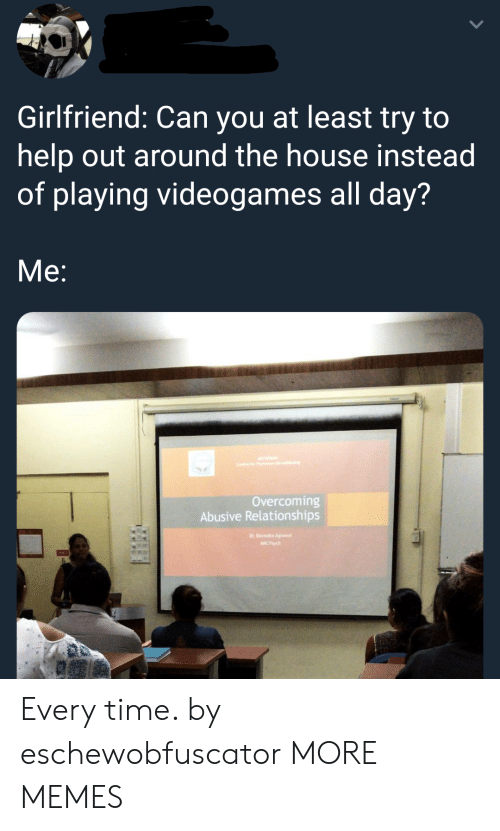Allely: Girlfriend: Can you at least try to  help out around the house instead  of playing videogames all day?  Me:  Overcoming  Abusive Relationships Every time. by eschewobfuscator MORE MEMES