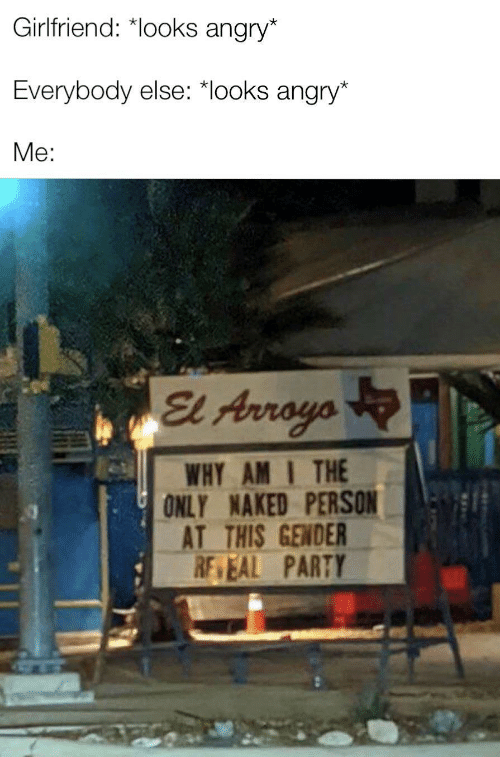 am i the only: Girlfriend: *looks angry*  Everybody else: *looks angry*  Me:  El Arroyo  WHY AM I THE  ONLY NAKED PERSON  AT THIS GENDER  RE EAL PARTY  ULL