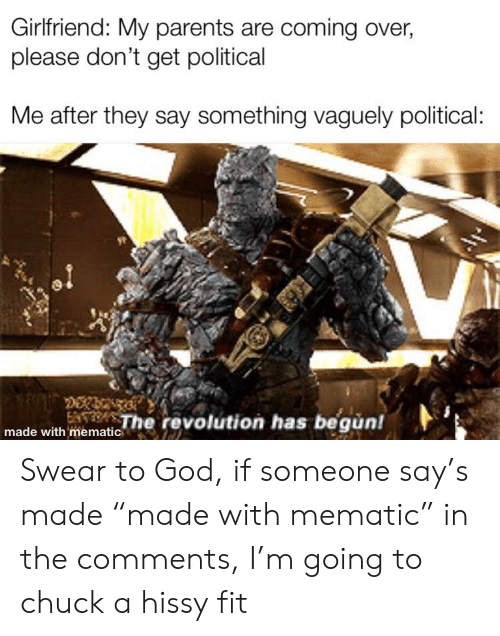 "Hissy: Girlfriend: My parents are coming over,  please don't get political  Me after they say something vaguely political:  The revolution has begun! Swear to God, if someone say's made ""made with mematic"" in the comments, I'm going to chuck a hissy fit"