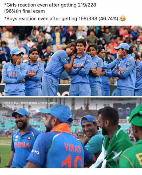 """icc: *Girls reaction even after getting 219/228  (96%)in final exam  """"Boys reaction even after getting 158/338 (46.74%).  Posted by ICC-International Cricket C"""