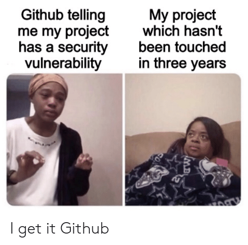 I Get It: Github telling  me my project  has a security  vulnerability  My project  which hasn't  been touched  in three years I get it Github