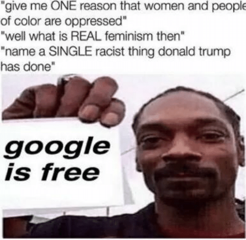 "Feminism: ""give me ONE reason that women and people  of color are oppressed""  ""well what is REAL feminism then""  ""name a SINGLE racist thing donald trump  has done""  google  is free"