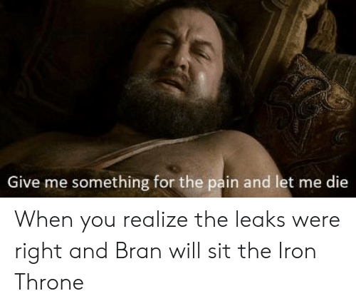 Pain, Bran, and Leaks: Give me something for the pain and let me die When you realize the leaks were right and Bran will sit the Iron Throne