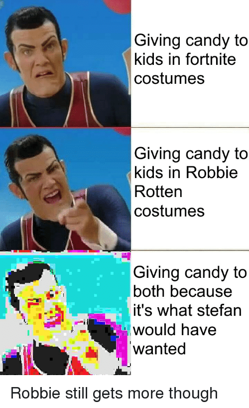 Candy, Kids, and Wanted: Giving candy to  kids in fortnite  costumes  Giving candy to  kids in Robbie  Rotten  costumes  Giving candy to  both because  it's what stefan  would have  wanted Robbie still gets more though