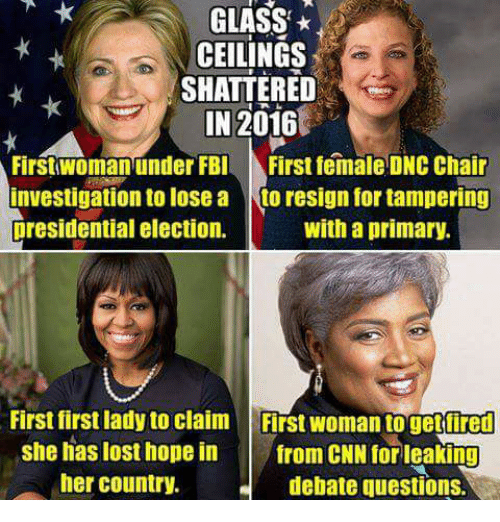 presidential elections: GLASS  CEILINGS  SHATTERED  IN 2016  First woman under FBI First female DNC Chair  Investigation to lose a  to resign for tampering  presidential election.  with a primary.  First first ladyto claim Frst woman togetiired  she has lost hope in from CNN for leaking  her country.  debate questions.