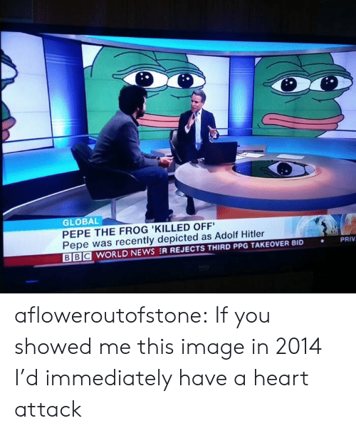 Pepe the Frog: GLOBAL  PEPE THE FROG 'KILLED OFF  Pepe was recently depicted as Adolf Hitler  BE WORLD NEWS :R REJECTS THIRD PPG TAKEOVER BID  PRIV  . afloweroutofstone: If you showed me this image in 2014 I'd immediately have a heart attack