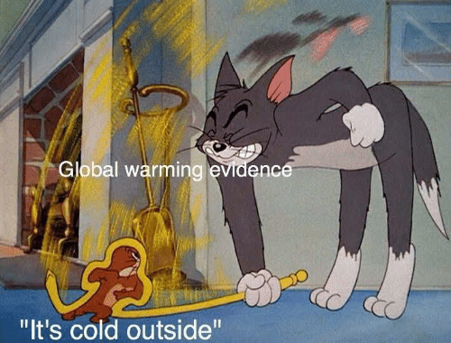 "Cold: Global warming evidence  ""It's cold outside"""