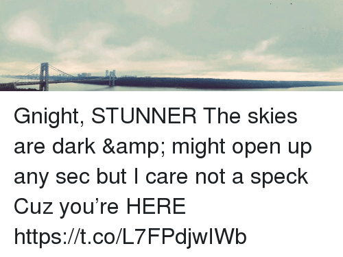 Memes, 🤖, and Dark: Gnight, STUNNER  The skies are dark & might open up any sec but I care not a speck Cuz you're HERE https://t.co/L7FPdjwIWb