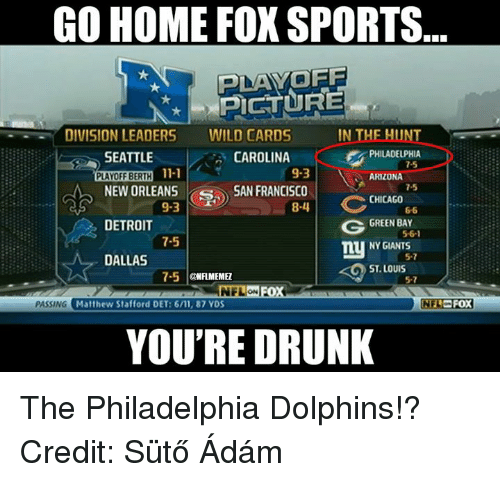 Chicago, Detroit, and Drunk: GO HOME FOX SPORTS  PLAYOFF  PICTURE  DIVISION LEADERS  WILD CARDS  IN THE HUNT  PHILADELPHIA  CAROLINA  SEATTLE  11-1  9-3  PLAYOFF BERTH  ARIZONA  NEW ORLEANS  S SAN FRANCISCO  CHICAGO  C  9-3  8-4  DETROIT  GREEN BAY  5-6-1  7-5  NY GIANTS  DALLAS  ST LOUIS  7-5  @NFLNMEMEZ  NFLON  PASSING  Matthew Stafford DET: 6/11, 87 YDS  INFLO FOX  YOU'RE DRUNK The Philadelphia Dolphins!? Credit: Sütő Ádám