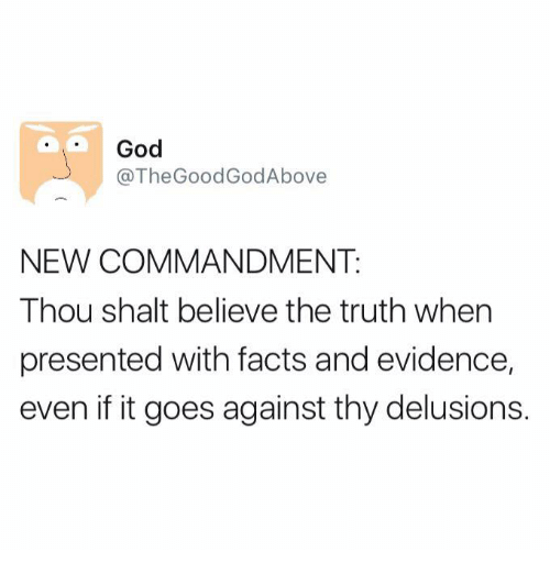 Dank, Delusion, and 🤖: God  @The Good GodAbove  NEW COMMANDMENT.  Thou shalt believe the truth when  presented with facts and evidence,  even if it goes against thy delusions.