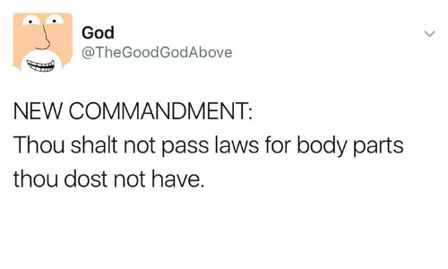 God, Memes, and 🤖: God  @TheGoodGodAbove  NEW COMMANDMENT:  Thou shalt not pass laws for body parts  thou dost not have.