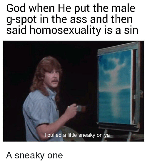 g spot: God when He put the male  g-spot in the ass and then  said homosexuality is a sin  I pulled a little sneaky on  ya A sneaky one