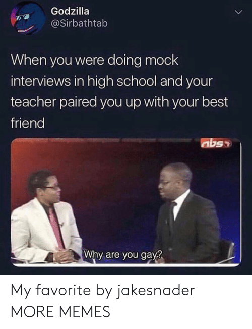 Interviews: Godzilla  @Sirbathtab  When you were doing mock  interviews in high school and your  teacher paired you up with your best  friend  abs  Why are you gay? My favorite by jakesnader MORE MEMES